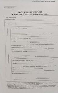 Karta szkolenia wstępnego BHP 2021
